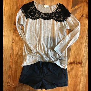Umgee Black Lace and Taupe Top